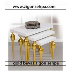 Gold beyaz zigon sehpa