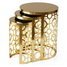 Çember altın metal zigon sehpa